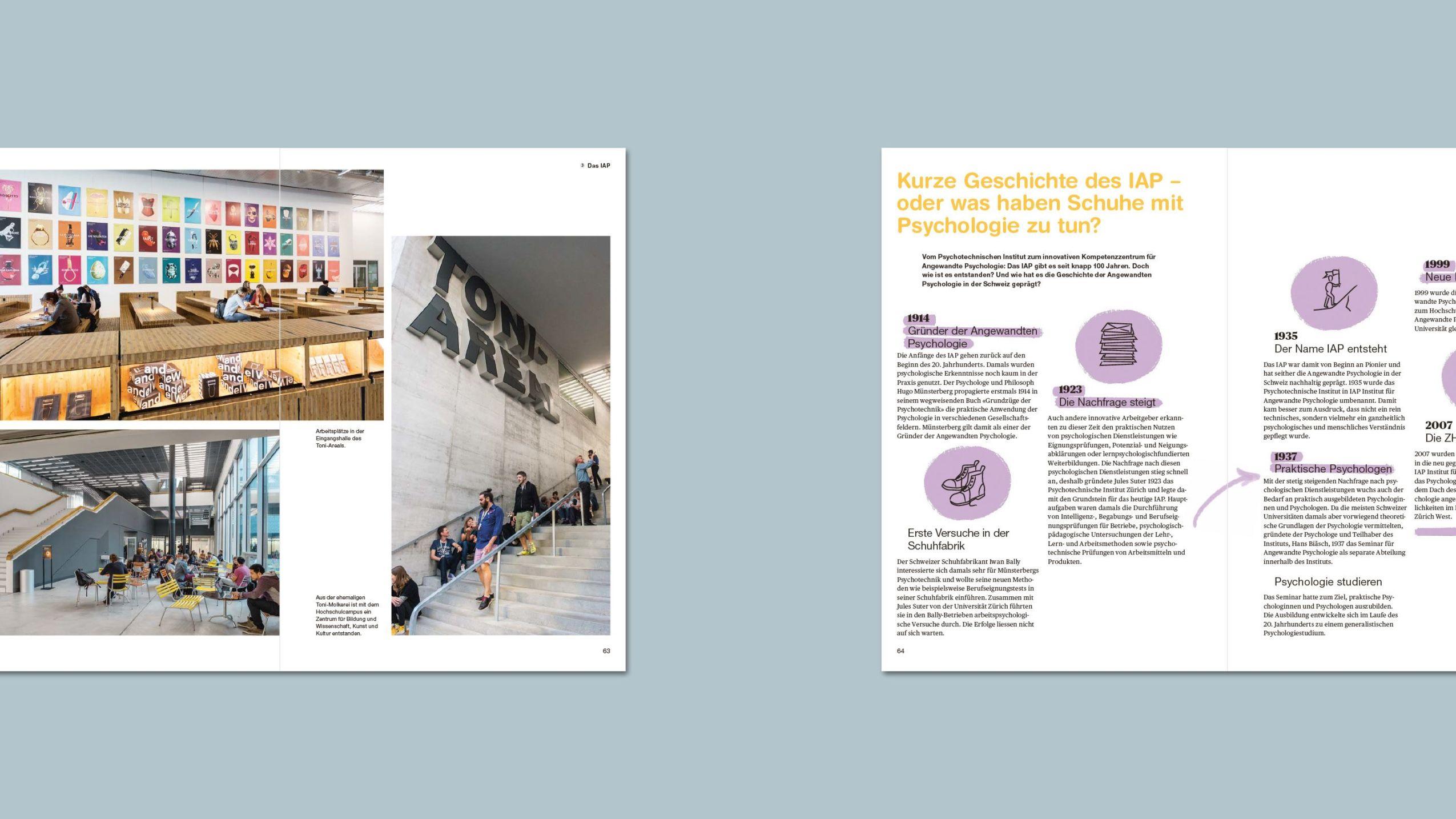 Dienstleistungs- und Imagebroschüre für das Institut für Angewandte Psychologie (IAP) der ZHAW. Innenseitenansichten