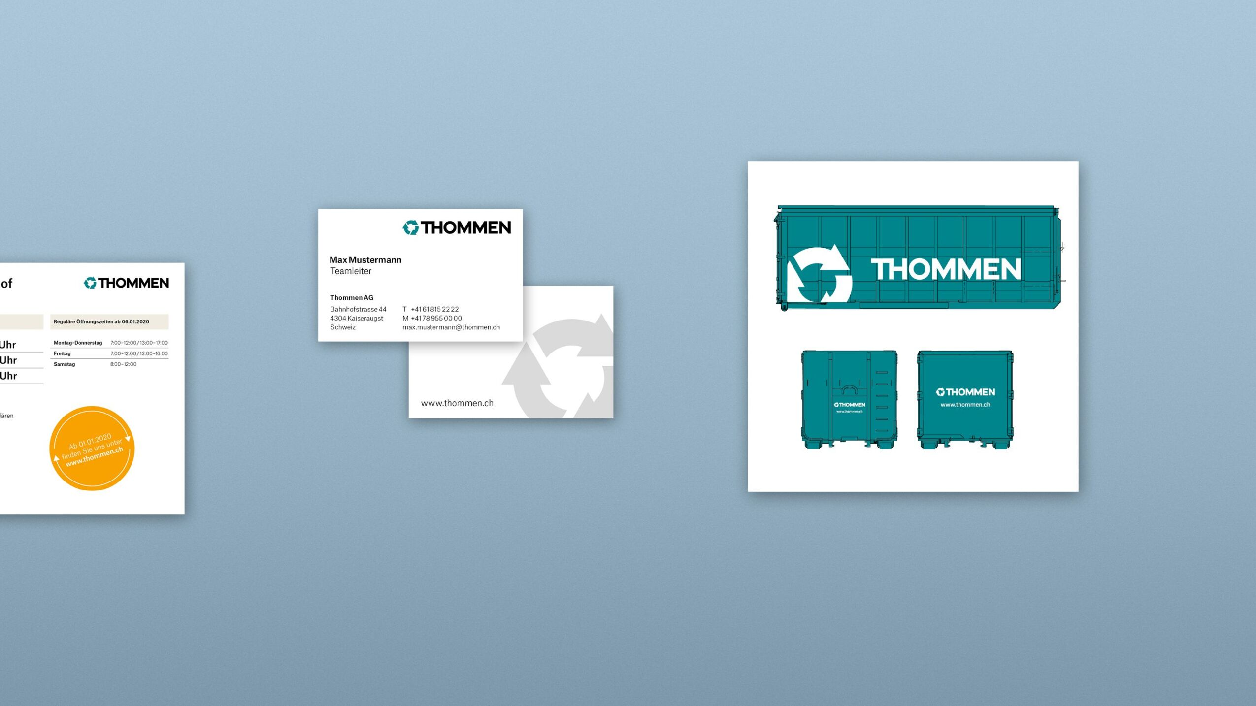 Markenkommunikation für Thommen. Öffnungszeiten, Visitenkarten, Behälterbeschriftung