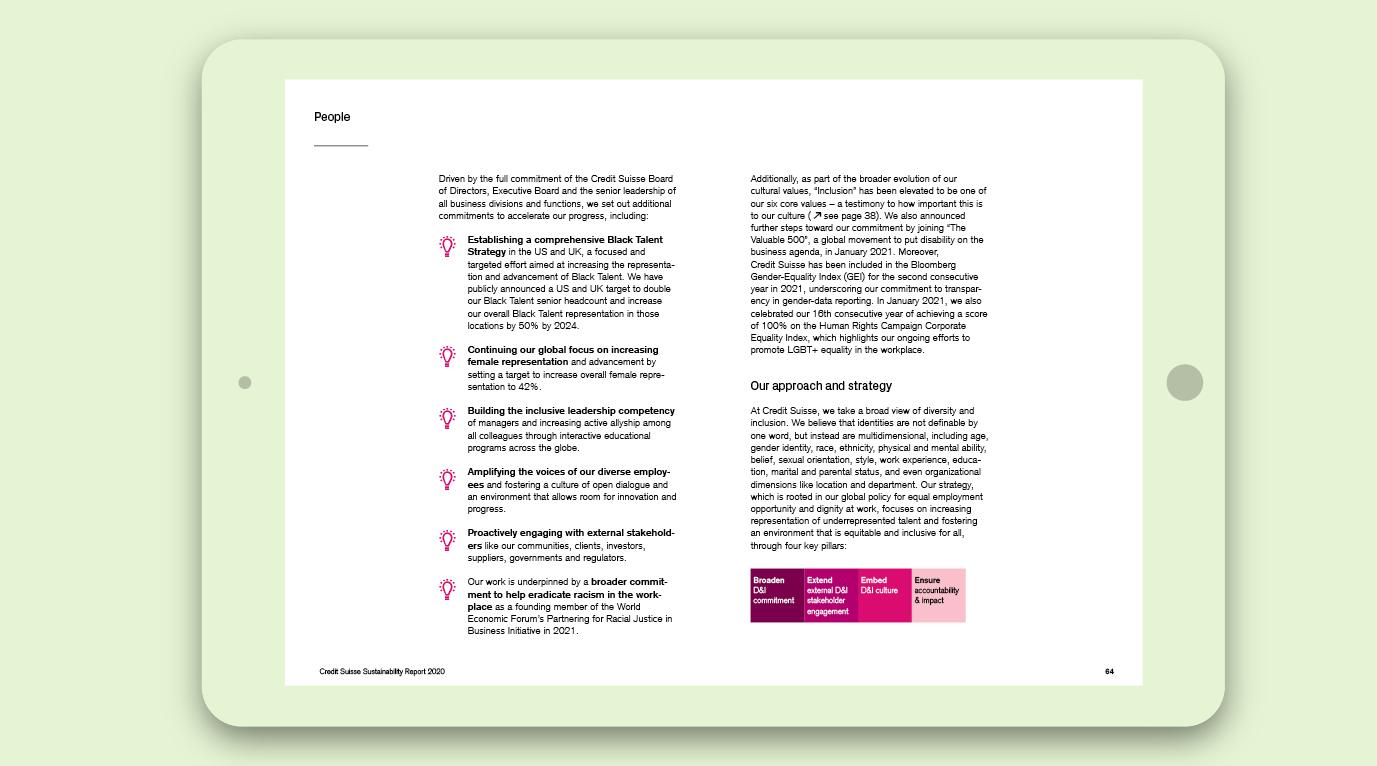 Sustainability Report der Credit Suisse